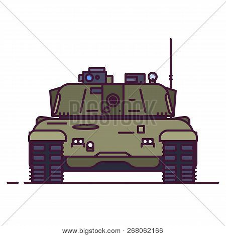 Front View Of Modern Battle Tank. Line Style Vector Illustration. Military Vehicle Concept. Armored