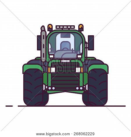 Front View Of Tractor For Farming. Line Style Pixel Perfect Vector Illustration. Agriculture Vehicle