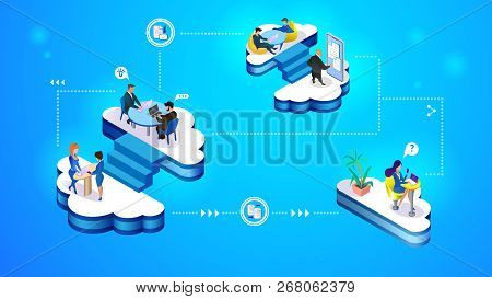 Set Of Cloud Management Concept Illustration. Isometric Projection Of Vector Illustration A Group Of