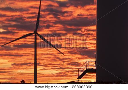 Wind Turbines At Sunset, Wind Energy Win