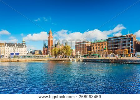 Helsingborg - October 2018, Sweden: Harbour In The City Of Helsingborg. Cityscape With Modern And Hi