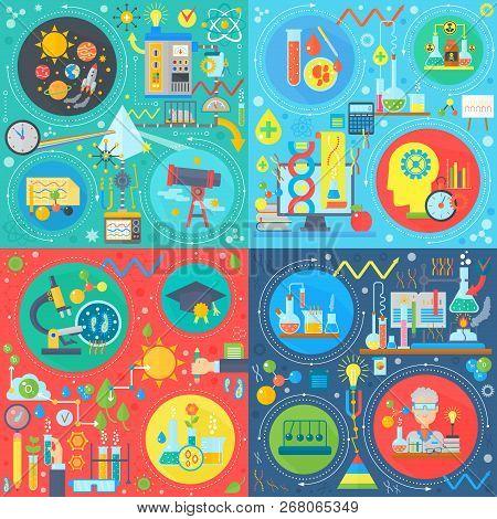 Fundamental Science Square Concepts Set, Physics, Chemistry, Biology Flat Vector Design Vector Illus