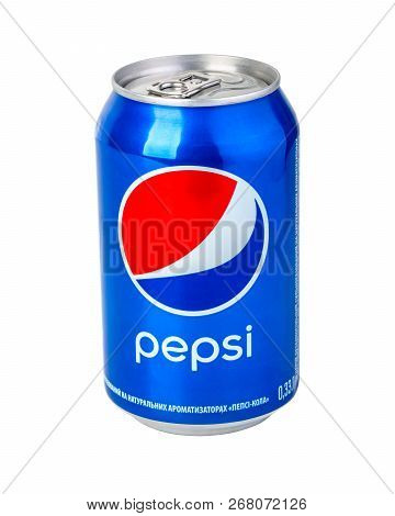 Chisinau, Moldova- November 14, 2015: Pepsi Can On White Background. Pepsi Is A Carbonated Soft Drin