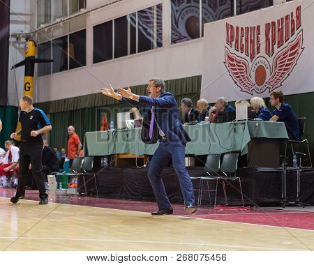 Samara, Russia - December 17: Bc Krasnye Krylia Head Coach Sergey Bazarevich Rages At Sideline Durin