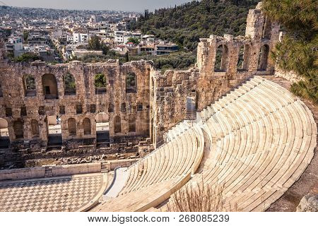 Odeon Of Herodes Atticus At The Acropolis, Athens, Greece. It Is One Of The Main Landmarks Of Athens