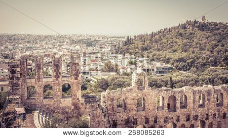 Odeon Of Herodes Atticus Overlooking Athens City, Greece. This Old Theatre Is One Of The Main Landma