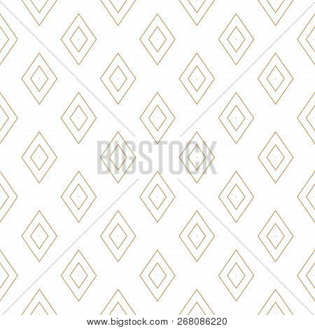 Vector Golden Lines Texture. Minimalist Geometric Seamless Pattern With Diamonds, Rhombuses. Abstrac