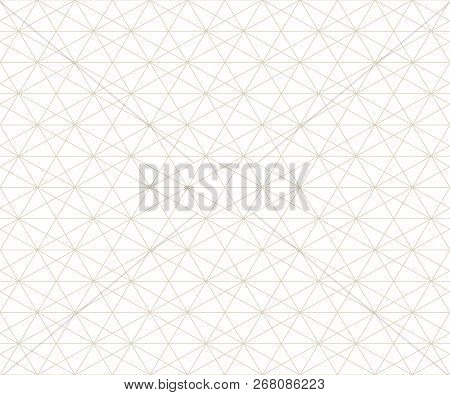 Subtle Geometric Lines Pattern. Vector Seamless Texture With Delicate Golden Grid, Lattice, Net, Thi