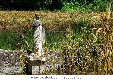Statue Replica Monument At Ancient Ruins Of Dion Archeological Site, Macedonia, Greece