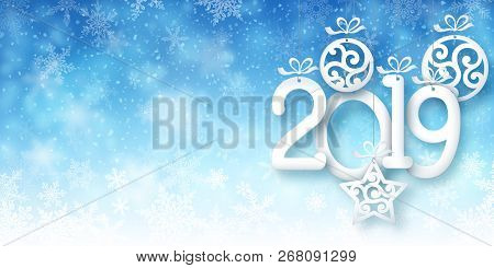 Illustration Of Snowfall, Background For New Year Greeting Cards, And Invitations, And Winter Holida