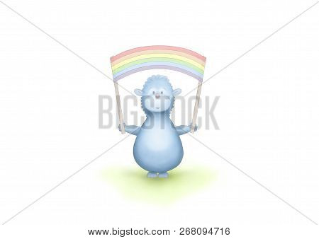 Cute Hand Drawn Blue Fantasy Animal Holding Up Rainbow Flag Banner, On White Background