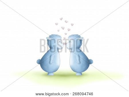 Two Cute Hand Drawn, Gender Neutral, Blue Fantasy Creatures, Equal Sexes, Showing Love By Rubbing No