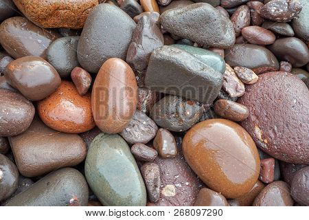 Colorful Beach Stones On Lake Superior In Minnesota