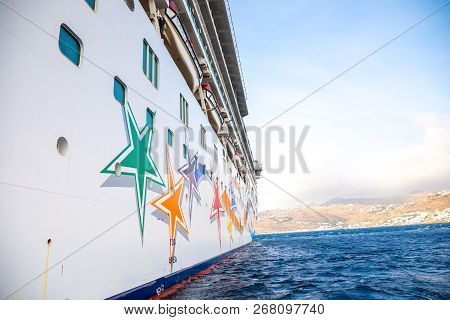 Mykonos, Greece - 17.10.2018: Norwegian Star Is A Cruise Ship Owned And Operated By Norwegian Cruise