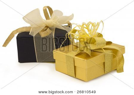 gold gift with golden bow and sateen box, holiday symbols