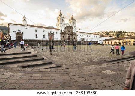 Quito, Ecuador - February 17, 2015: San Francisco Church Located In Quito Ecuador