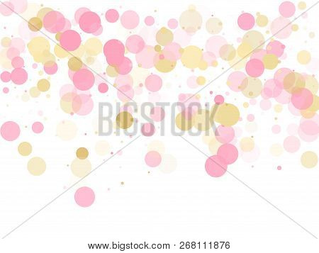 Rose Gold Confetti Circle Decoration For Party Invitation Card. Holiday Vector Decor. Gold, Pink And