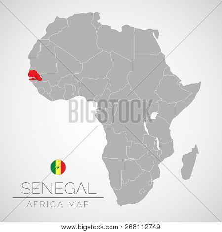 Map of Africa with the identication of Senegal. Map of Senegal. Political map of Africa in gray color. Africa countries. Vector stock. poster