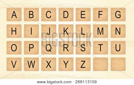 Wooden Tiles Alphabet Letters, Including Two Blanks