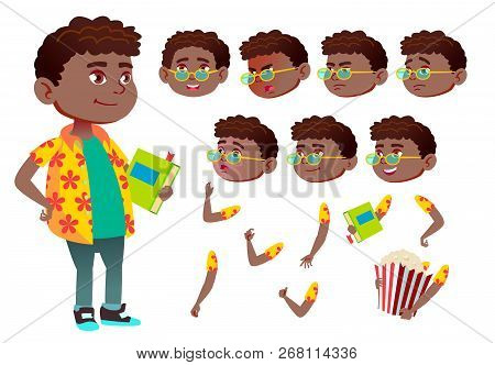 Boy, Child, Kid, Teen Vector. Black. Afro American. Schoolchildren, Teen. Face Emotions, Various Gestures. Animation Creation Set. Isolated Flat Cartoon Character Illustration poster