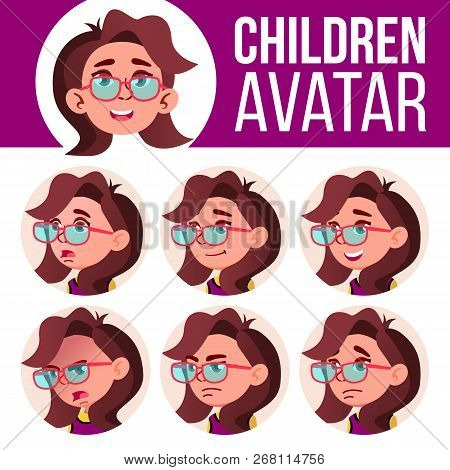 Girl Avatar Set Kid Vector. Primary School. Face Emotions. Emotions, Emotional. Friendly, Weeping. C