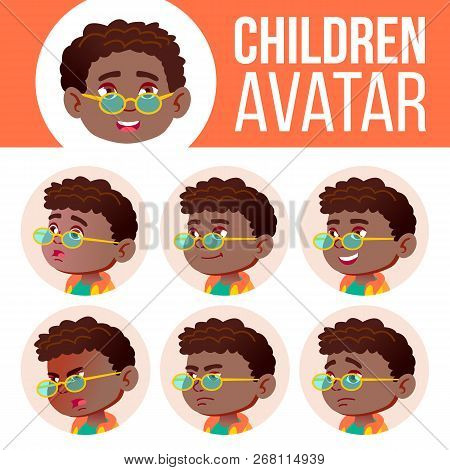 Boy Avatar Set Kid Vector. Black. Afro American. Primary School. Face Emotions. Emotions, Emotional.