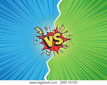 Comic Frame Vs. Versus Duel Battle Or Team Challenge Confrontation Cartoon Comics Halftone Backgroun