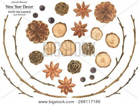 Botanical Watercolor. Cones And Branches, Badyan And Juniper. Set For Christmas Design, Path Include