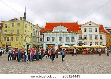 Tallinn, Estonia - August 30, 2018: Unidentified People On The Town Hall Square. Town Hall Square Ha