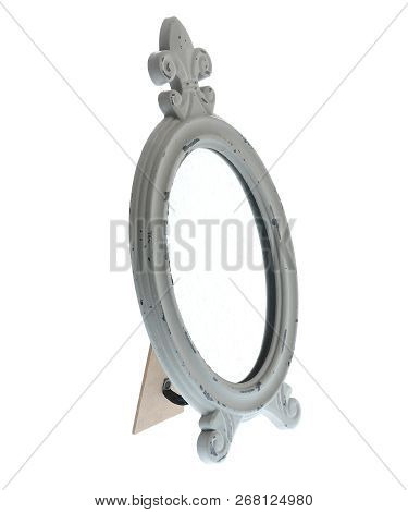 Oval Mirror With Color Wood Frame Isolated On White Background