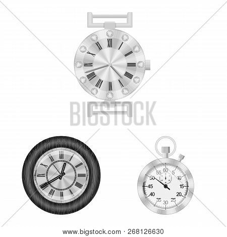 Vector Illustration Of Clock And Time Icon. Collection Of Clock And Circle Stock Vector Illustration