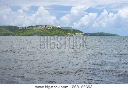 Fajardo Bay And Hills Along Atlantic Coastline In Puerto Rico
