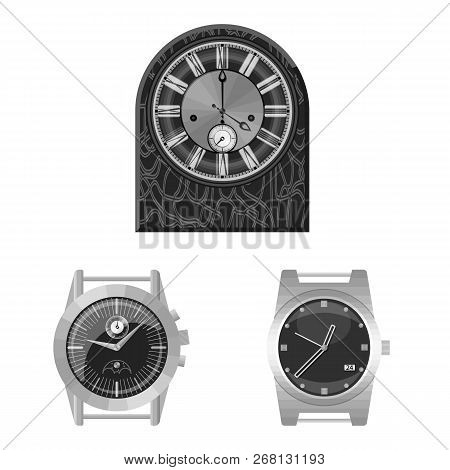 Vector Design Of Clock And Time Logo. Set Of Clock And Circle Stock Vector Illustration.