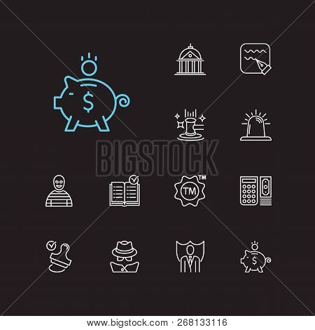 Legal Icons Set. Stamp And Legal Icons With Trademark, Bank And Detective. Set Of Face For Web App L