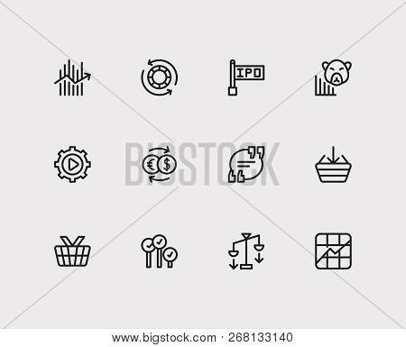 Finance Trading Icons Set. Stock Symbol And Finance Trading Icons With Chip Stocks, Exchange And For