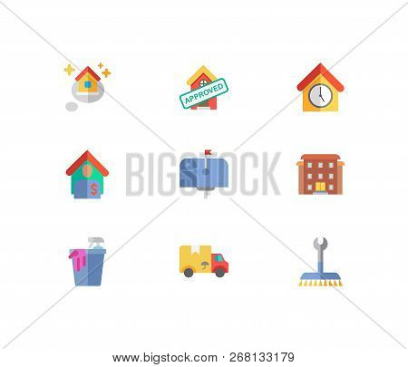 Building Icons Set. Mail Box And Building Icons With Tenant, Leased And Residential Area. Set Of Cle