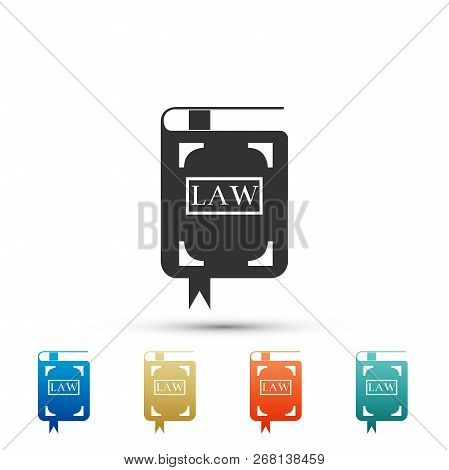 Law Book Icon Isolated On White Background. Legal Judge Book. Judgment Concept. Set Elements In Colo