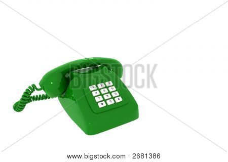 Antique Green Phone On A White Background Insulated 3D