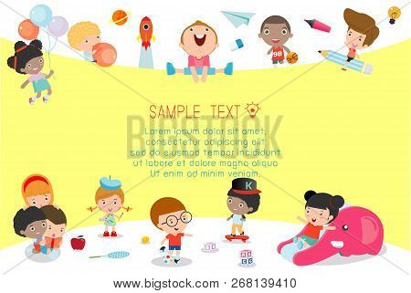 Back To School, Kids School, Education Concept, Kids Go To School, Template For Advertising Brochure
