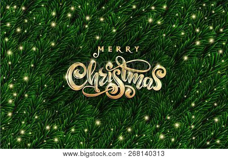 Golden Text Merry Christmas. Hand Drawn Gold Xmas Lettering. Realistic 3d Green Spruce Tree Branches
