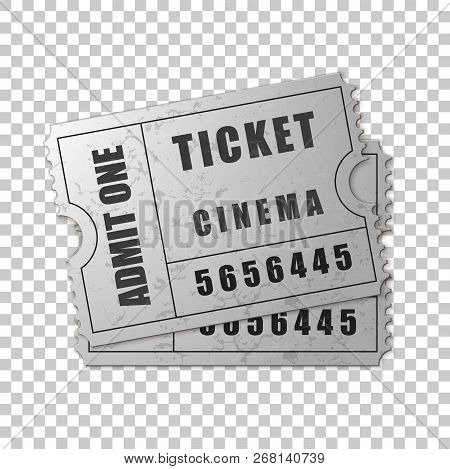 Realistic Two Silver Cinema Tickets Isolated Object On Transparent Background. Cinema, Theater, Conc