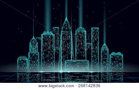 Smart City 3d Polygonal Wire Mesh. Intelligent Building Automation System Business Concept. Water Re