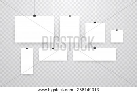 Blank Hanging Photo Frames Or Poster Templates Isolated On Transparent Background. Photo Picture Han