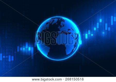 Stock Market Graph Or Forex Trading Chart For Business And Financial Concepts, Reports And Investmen