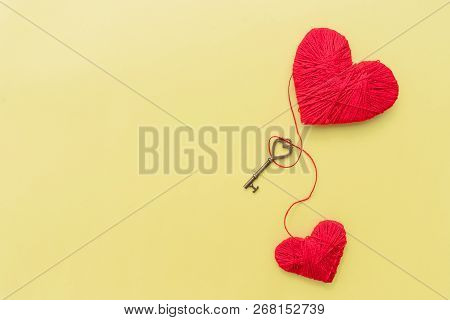 Key For Lovers.happy Valentine Day.hearts Bound By One Thread, Red Heart, Recognition In Love, Emoti