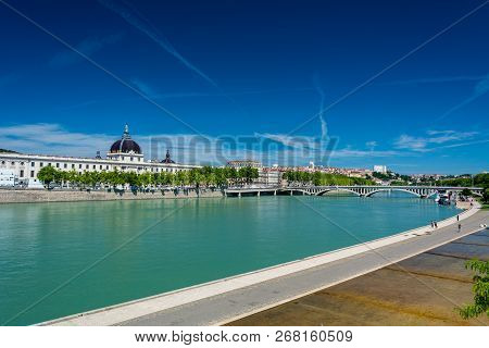 Lyon, France - July 18, 2018:  Rhone River And Hotel-dieu. Hotel-dieu Was A Hospital Of Historical S