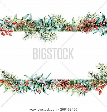 Watercolor Christmas Floral Banner. Hand Painted Floral Garland With Berries And Fir Branch, Eucalyp