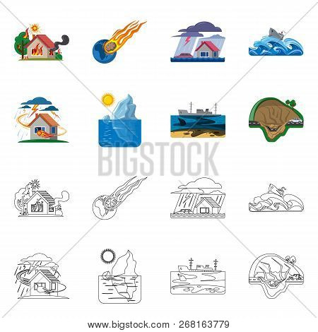 Vector Design Of Natural And Disaster Logo. Set Of Natural And Risk Vector Icon For Stock.