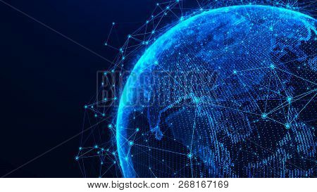 Global Network Concept. World Map Point. Global Network Planet Earth. 3D Rendering.