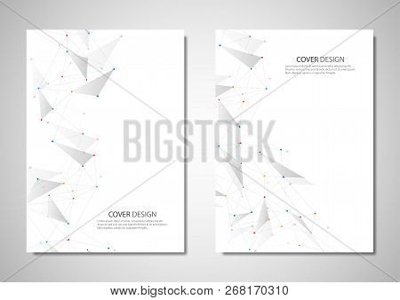Vector Brochure Or Cover Design. Geometric Abstract Background With Connected Dots And Lines. Molecu